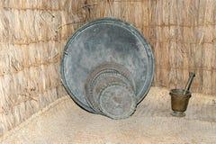 Antique dishes Bedouin,  Dubai museum, United Arab Emirates,UAE Royalty Free Stock Photos