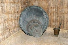 Antique dishes Bedouin,  Dubai museum, United Arab Emirates,UAE Stock Image