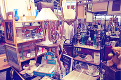 Antique display Greenwich market. Famous place to buy an art, crafts, antiques etc., London Royalty Free Stock Photos