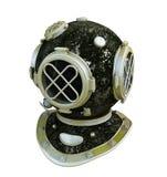 Antique diver helmet. Side view of a vintage brass diver helmet Royalty Free Stock Photo