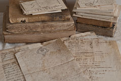Antique documents. Antique letters, books and manuscript Stock Images
