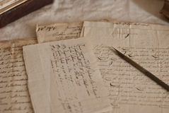 Antique documents. Antique letters, books and manuscript Royalty Free Stock Images