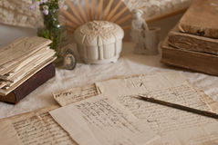 Antique documents. Antique letters, books and manuscript Stock Photos