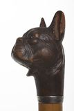 Antique dog head sculpture. Isolated on white background Stock Photo