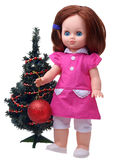 Antique Doll decorating christmas tree Royalty Free Stock Image