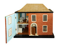 Antique Dolls House. With open front isolated with clipping path Stock Photo