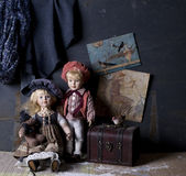 Antique dolls tableau Royalty Free Stock Photography