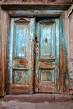Antique door. Antique old destroyed blue door Royalty Free Stock Photography