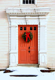 Antique Door at Christmas Stock Photo