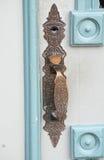 Antique Door Handle on City Hall, La Connor, Washington Stock Photos