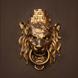 Antique door handle in the form of a lion Stock Images