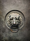 Antique door knocker in the form of a lion's head on old metal d Royalty Free Stock Photo
