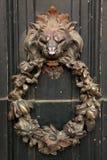 Antique door knocker. Lion head shape stock images