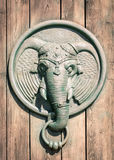 Antique door knocker shaped elephant`s head. Stock Images