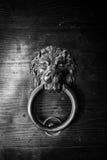 Antique door knocker shaped lion's head. Royalty Free Stock Photo