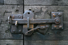 Antique Door Latch. Photographed at Old Fort Niagara in Lewiston, NY stock photo