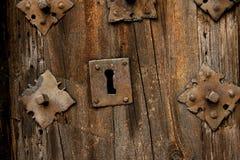 Antique door lock. Door and lock in Dominican republic historic district Stock Photos