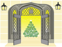 Antique door open showing a Christmas tree Stock Images