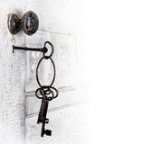 Antique Door With Keys In The Lock Royalty Free Stock Photos