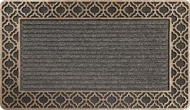 Antique doormat with golden design. Color doormat with Golden border Isolated on a White Background stock illustration