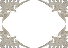 Antique dragon frame isolated on white Royalty Free Stock Photo