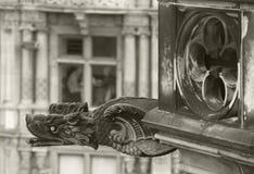 Antique dragon shaped gargoyle in Edinburgh, Scotland. UK Royalty Free Stock Images