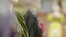 Antique Dress Details. Slow motion shot on tailors mannequin stock footage