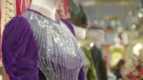 Antique dress details. Slow motion shot on tailors mannequin stock video
