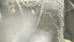 Antique Dress Details. Slow motion shot on tailors mannequin stock video footage