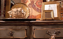Antique Dresser and French Decor. An antique dress with French décor accents Royalty Free Stock Photo