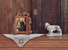 Antique dresser with retro photo Royalty Free Stock Photos