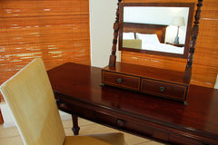 Antique dressing table with mirror Royalty Free Stock Photos