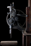 Antique Drill Press. This is a drill press is mounted in a blacksmith shop on a centennial farm in Michigan Stock Images