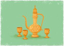 Antique drinking pot and wine glass Royalty Free Stock Image