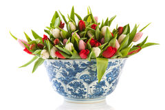 Antique Dutch bowl with tulips Stock Image