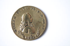 Antique Dutch bronze coin from 1767 Stock Photography