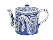 Antique Dutch teapot in Delfts blue, Holland Stock Photo