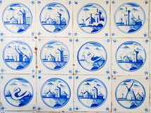Antique dutch tiles. On the kitchen wall of an old building vector illustration
