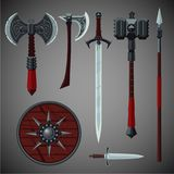 Antique edged weapons collection. Game design set. Viking style Royalty Free Stock Photography