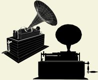 Antique Edison Gramophone Vector 01 Stock Photos