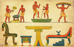 Antique Egypt - every day life painting, from an engraving middle 800. Antique Egypt - pictorial description of house furniture and the art of baking Royalty Free Stock Image