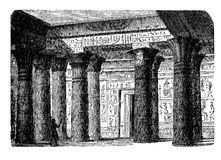 Antique Egypt - temple interior, engraving middle '800 Stock Photo