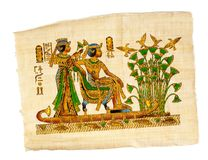 Antique egyptian papyrus and hieroglyph royalty free stock photos