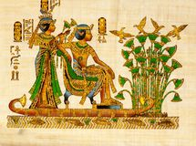Antique egyptian papyrus and hieroglyph. Ancient Egyptian parchment Stock Photo