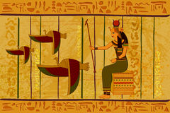 Antique Egyptian papyrus and hieroglyph background Stock Photography