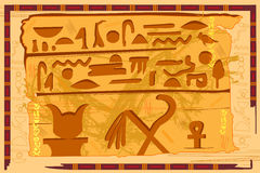 Antique Egyptian papyrus and hieroglyph background. Easy to edit vector illustration of antique Egyptian papyrus and hieroglyph background Stock Images