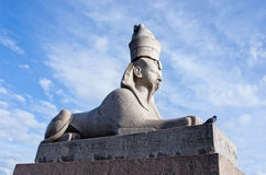 Antique Egyptian sphynx on quay of the Neva river in Saint Petersburg, Russia. Royalty Free Stock Photos