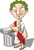 The Antique Emperor. Is standing near the ionic capital with a manuscript in his hand vector illustration