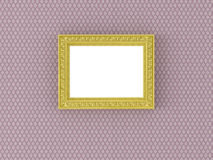 Antique empty picture frame on vintage wallpaper Royalty Free Stock Photography