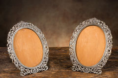 Antique empty picture frames. Vintage old picture frames without the portraits stock image